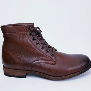 $328 Frye Tyler Cognac Brown Leather Combat Boots